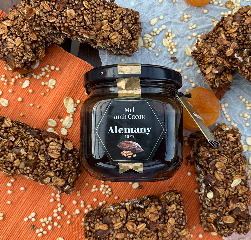 Barretes energètiques amb mel amb cacau Alemany