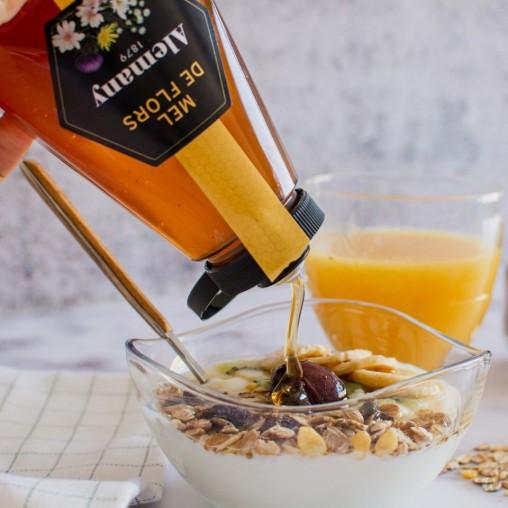 Miel de flores Antigoteo 500g Alemany con yogur y granola