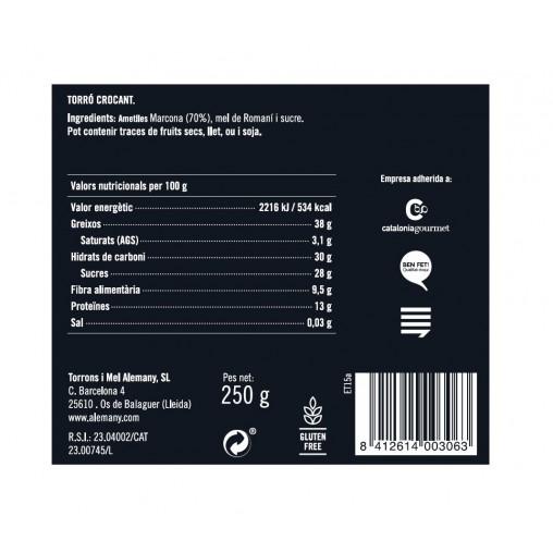 Torró Crocant Alemany 250g | Informació Nutricional