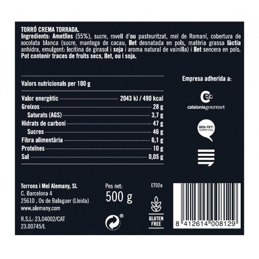 Torró crema torrada 500g Great Taste Awards |  Informació Nutricional