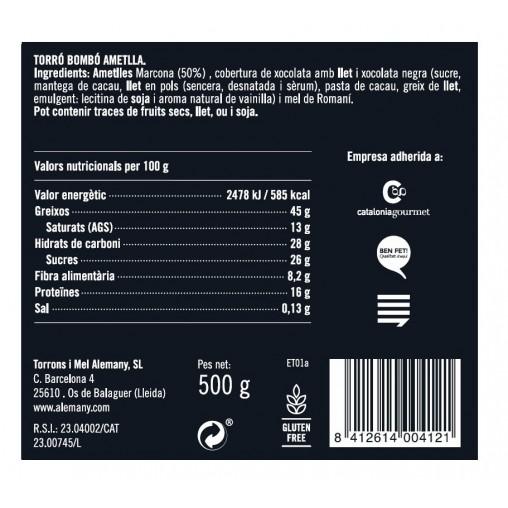 Turrón Chocolate Almendras 500g | Información Nutricional
