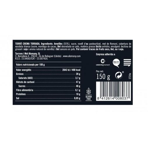 Torró crema torrada Alemany 150g | Informació Nutricional