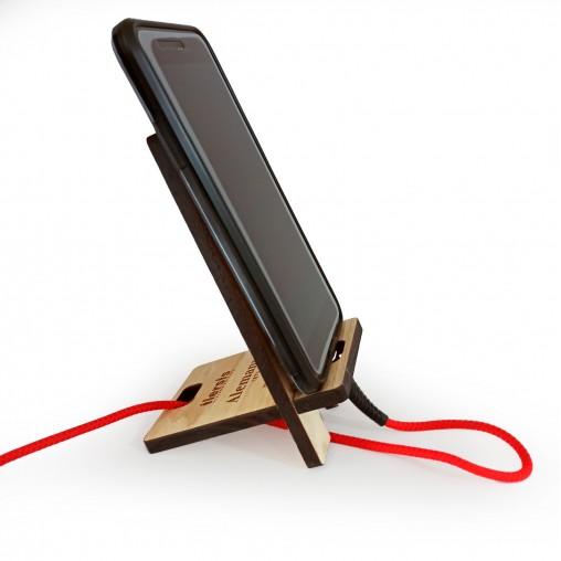Soporte madera para móvil carga de batería   Alemany