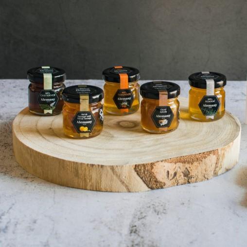 Mel de Romaní, Mel de Taronger, Mel de Castanyer, Mel amb pell de taronja, Còctel apícola | Caixa Tast de mels Alemany