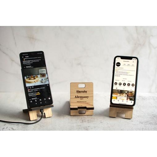 Soporte teléfono en madera Alemany con móviles