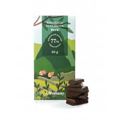 Xocolata Negra Ecològica i vegana 77% Cacau del Perú | Alemany 1879