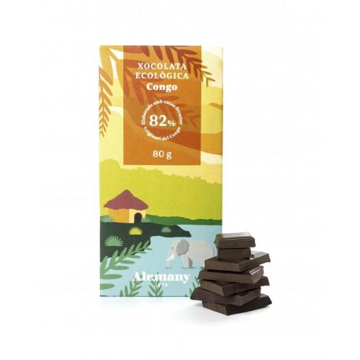 Xocolata negra Ecològica i Vegana 82% cacau del Congo | Alemany.com