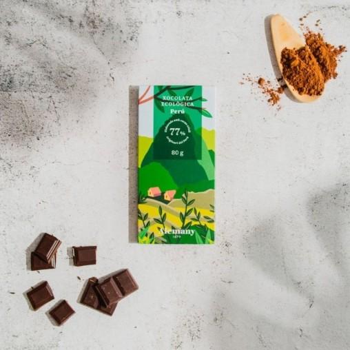 Xocolata ecològica 77% amb cacau del Perú   Sense Gluten   Alemany