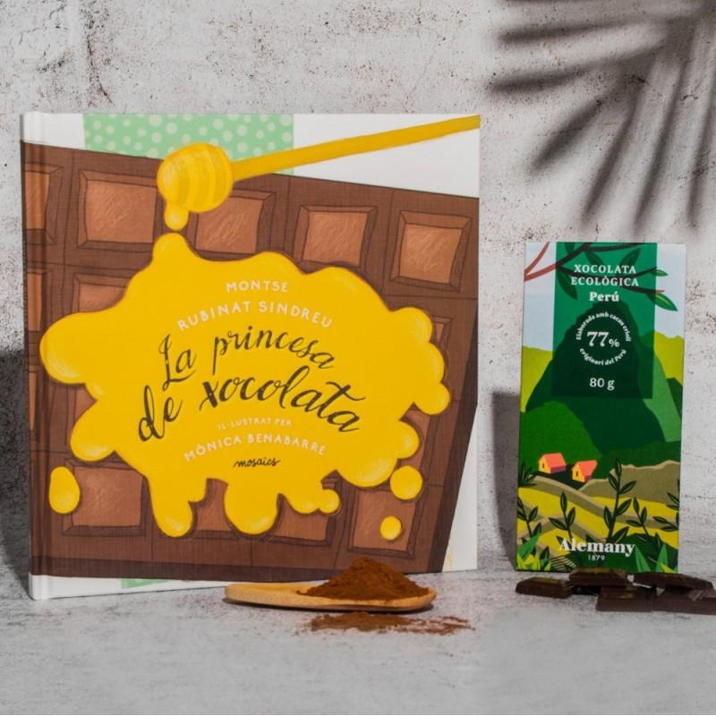 Lot xocolata 77% cacau del Perú i conte 'La princesa de xocolata'    Alemany 1879
