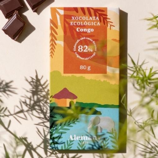 Xocolata negra Ecològica 82% cacau del Congo Alemany