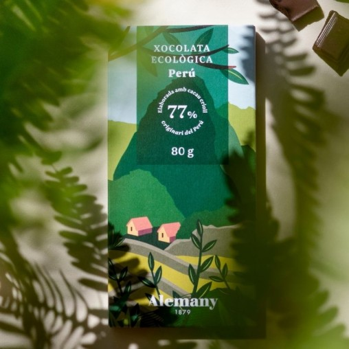 Chocolate negro Ecológico 77% cacao del Perú Alemany