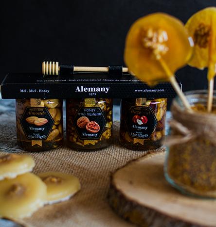 Piruletas de miel con nueces Alemany
