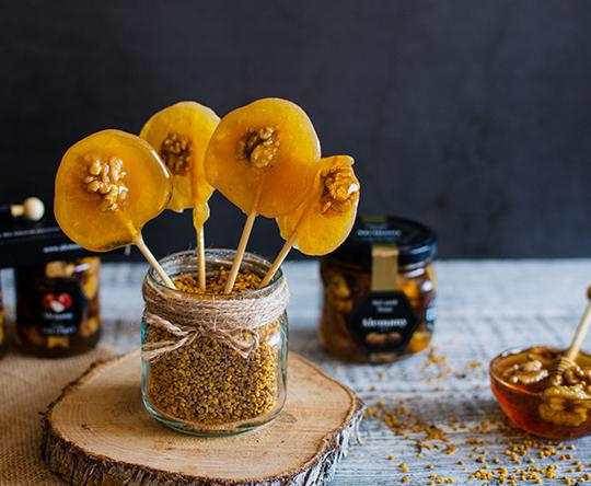 Receta Piruletas de miel con nueces Alemany