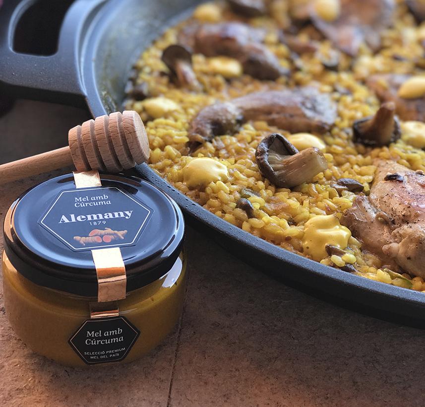 Arròs de perdiu, flor de gírgola i allioli de mel amb cúrcuma Alemany