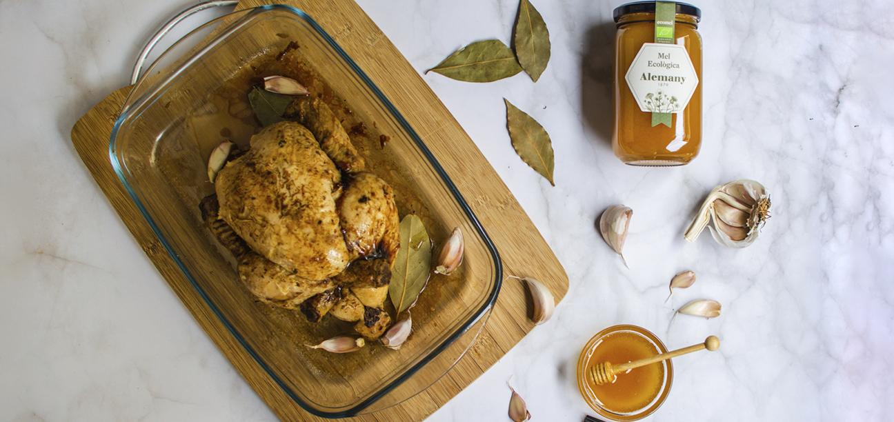 Pollastre rostit al forn amb mel ecològica Alemany